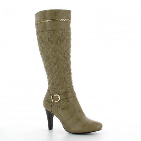 Ideal Shoes - Bottes à talon avec partie matelassée décorées d'un ceinturon et d'une fermeture éclair Leala Taupe