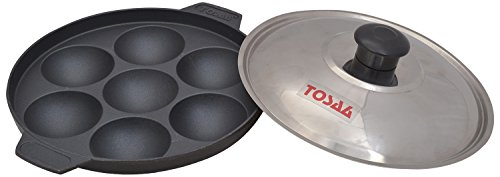 Tosaa Non stick 7 cavity appam patra with lid, 17 cm (200 grms )
