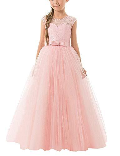 NNJXD Mädchen Kinder Spitze Tüll Hochzeit Kleid Prinzessin Kleider Größe (140) 8-9 Jahre Rosa (Für Mädchen Hochzeiten Kleine Kleider)