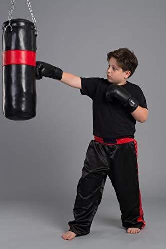 BAY® BOXSET Kidsset für TEENS 9 Kilo gefüllt 80x28 cm, Box-Set Sandsack Boxsack + Boxhandschuhe, Kinder Kids Junior Teens, schwarz/rot, fertig + Stahlkette, Box Set Kids Set Kinderset Boxen Box Handschuhe