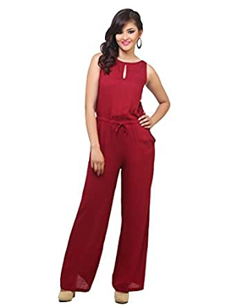 cottinfab Women's Jumpsuit (2341B_Red_Small)