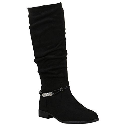 Gefütterte Damen Stiefel Klassische Langschaft Boots Schuhe 149804 Schwarz Zierperlen 40 Flandell