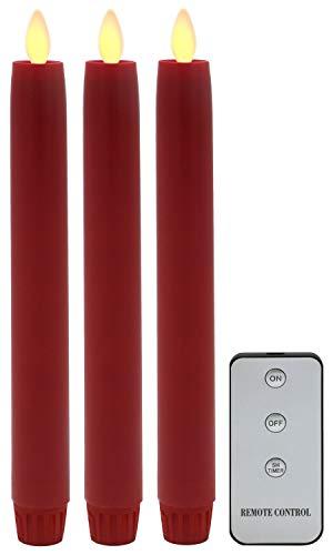 Tronje 3x LED Velas Candelabro 24cm Rojo 5h Temporizador