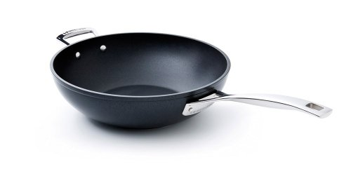 Le Creuset- Sartén Wok de Aluminio Forjado con Antiadherente, 26 cm, color Negro