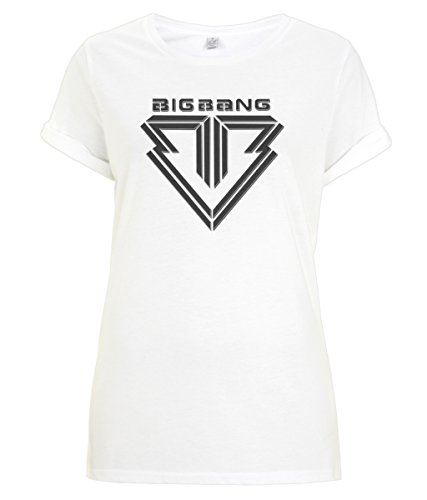 BigBang kPop BoyBand - Women's Rolled Sleeve T-Shirt [White] (M) (White Dragon Shirt)