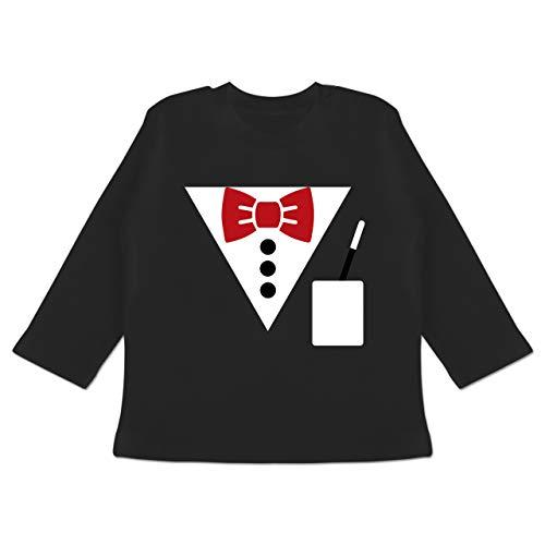 Winter Hexenmeister Kostüm - Karneval und Fasching Baby - Magier Kostüm - 3-6 Monate - Schwarz - BZ11 - Baby T-Shirt Langarm