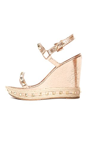 Women's Ladies Stud Strappy Wedge Sandals Champagne