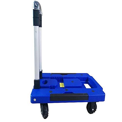 QTDH Faltbarer Handwagen - Gepäckwagen Mit Mehreren Positionen - Einkaufswagen - Einkaufen, Geschäftsreisen, Frachtumschlag - 220 Pfund (Farbe : Blau, größe : Kleine)