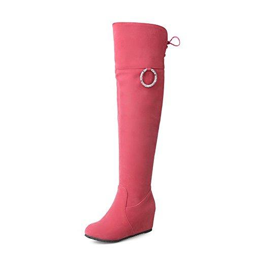 VogueZone009 Damen Mittler Absatz Nubukleder Stiefel mit Beschlagene Strass Pink