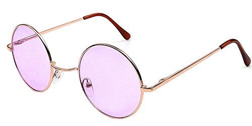 BOZEVON Retro Gafas de sol Cyber Gafas Steampunk Punk Calidad UV400 para Hombres Mujer Oro-Rosa