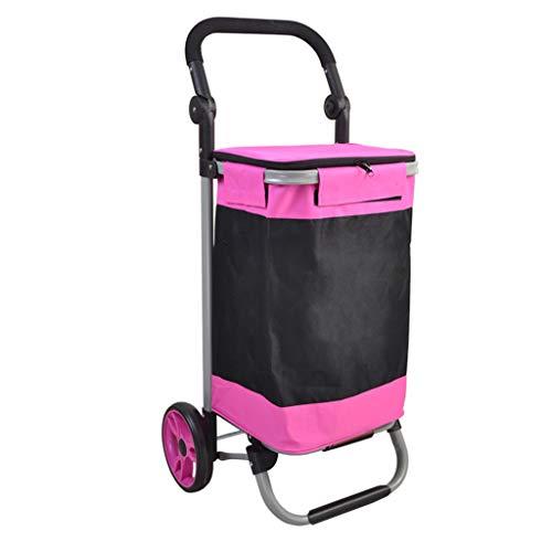 SZQ Stahlrohr-faltender Wagen, doppelte tragende Laufkatze, die Gepäck-Laufkatzen-Eillogistik-kleine Wagen-Größe 5.7 * 48.5 * 87CM faltet...