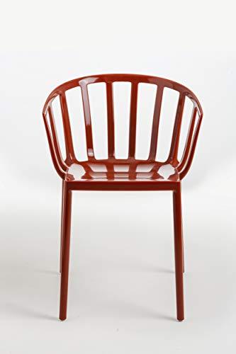 Kartell 5806/15 Venice Chaise - Polycarbonate - Lot de 2 Chaises - 51x75x51 cm - Rouge Orangé