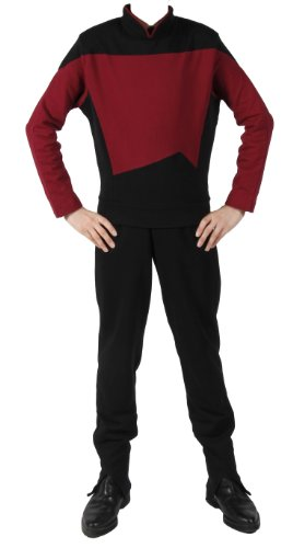 Generation - Raumschiff Enterprise - Uniform Shirt + Hose - Rot - XL (Star Trek Next Generation Kostüm)