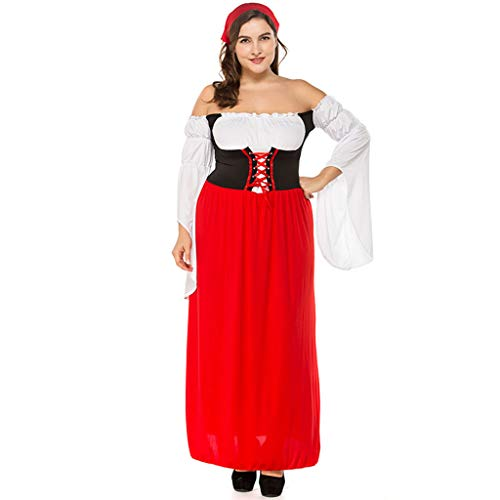Lady Kostüm Piraten Übergröße - QQWE Damenkostüm Oktoberfest in Übergröße, Bayerisches Bier-Mädchen-Dirndl, Vintage-Frauenkleid, Piraten-Cosplay-Bühnenkleidung,Red-M