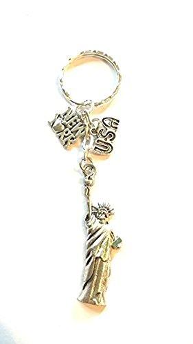 Twilight Gifts New York Schlüsselanhänger ~ PARIS Schlüsselanhänger ~ Urlaub Schlüsselanhänger ~ Freiheitsstatue ~ Tasche Charm ~ Tibetischen Silber Geschenk, Tibetan Silver Tone (Charm Freiheitsstatue Silber)