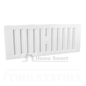 9 x 3 White Plastic Adjustable Air Vent Grille With Flyscreen Cover...