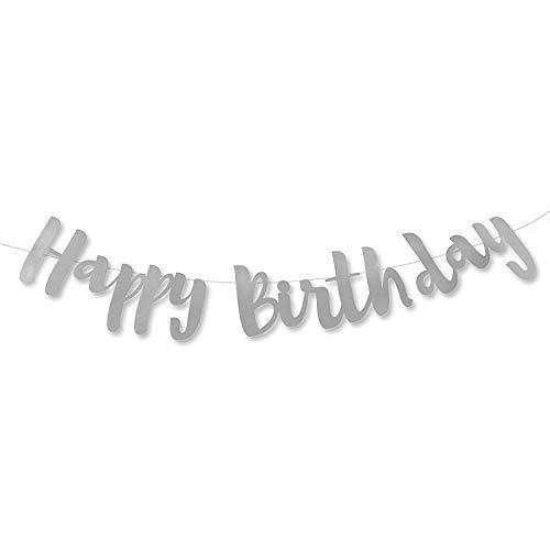 (Happy Birthday Silver Stitched Garland)