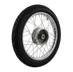 SIMSON-Komplettrad - VORNE - 1,5x16 Zoll - Stahl verchromt, mit VeeRubber-Reifen VRM094 fertig montiert