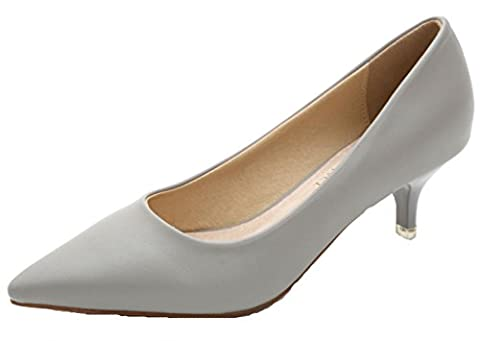 DADAWEN Women's Pointed Toe Kitten Heel Pumps Work Formal Court Shoes-Grey UK 3.5