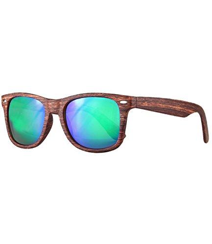 caripe Wayfarer Sonnenbrille Nerd Brille verspiegelt - viele Farben - SP (Holzoptik braun -...