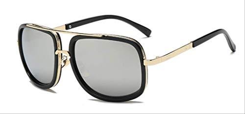 MJDL Mode Großen Rahmen Sonnenbrille Männer Platz Mode Gläser Für Frauen Hochwertige Retro Sonnenbrille Vintage Gafas Oculos Silber