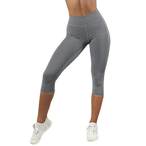 TianWlio Leggings Damen Frauen Mode Feste Gamaschen Der Hohen Taille die Sport Turnhallen Yoga Athletische Hosen Laufen Lassen Grau L