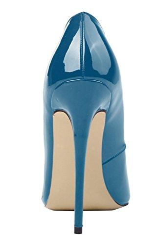 Kolnoo Damen Stiletto High Heels Party Pumps Lack Mode Schuhe Größe Darkblue