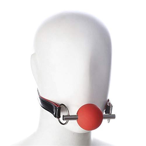Canarea Knebel Mund harness mit Ball Gag Silikon Harness Geschirr Leder sex sm fetisch cosplay sexspielzeug Mundknebel Ballknebel Für Anfänger Paare Verstellbar (Rot) - Sex Für Aufblasbare Mund-knebel
