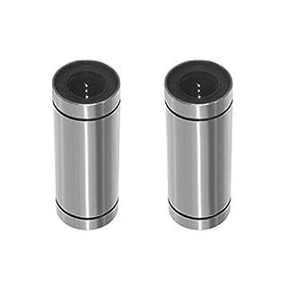 WOSOSYEYO 2PCS / Lot LM8UU Linearkugellager Kreuzwort Clue Bush Buchse 3D-Drucker-Teile Zubehör Kugelbuchse Welle (Silber)