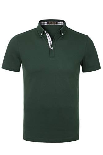 MAROJO Herren Poloshirt Kurzarm Einfarbig Karo Patchwork Sommer T-Shirt Men's Polo Shirt (Dunkelgrün, XXL) -