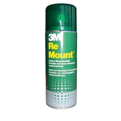 3M Re Mount 59103 Adesivo Spray Sempre Removibile, Riposizionabile, Trasparente, 400 ml