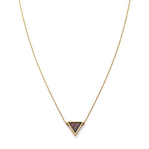 Kerbholz Damen Holzschmuck - Geometrics Kollektion Dreieck Halskette mit Anhänger aus Naturholz, gold, größenverstellbar (Kettelänge 38 + 5 cm)