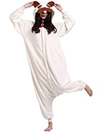 Kigurumi Pijama Animal Entero Unisex para Adultos con Capucha Cosplay Pyjamas Pug Ropa de Dormir Traje