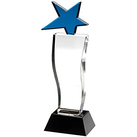 Azul Star trofeo sobre columna de vidrio con base de color negro, 10 pulgadas