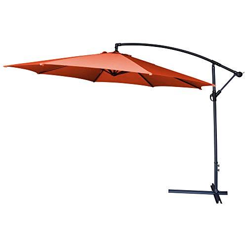 Jalano Sonnenschirm freischwebend Ampelschirm LED 350 cm inkl. Hülle Fusskreuz Verstellbar Kurbelschirm, Farbe:orange