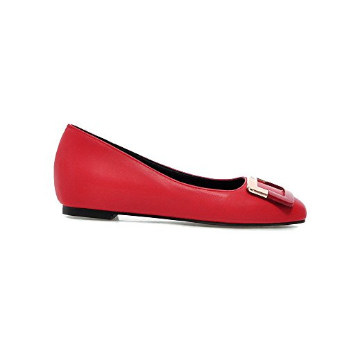 Tire Femme Pu Talon Bas Unie Cuir Voguezone009 Chaussures Rouge nxxRP