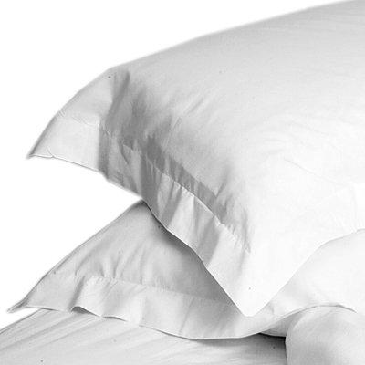 Linens Limited 2 Kissenbezüge mit Saum - Baumwoll-Polyester-Perkal, Fadenzahl 180 - Weiß -