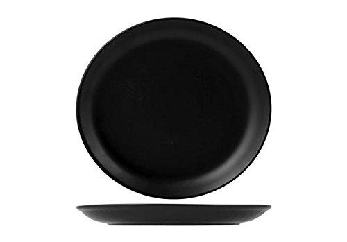 H&H H&H Assiette Plate en Porcelaine, Ronde, Noire 23,5 cm