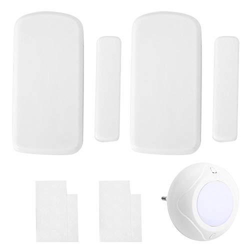 Drahtlose Alarmanlage, 433 MHz DIY Home Security Alarm Kits mit 1 Sound Licht Sirene 2 Tür Fenster Magnetsensor für Zuhause, Büros, Garagen (JD11 + MC06A) Diy Wireless-alarm-kit