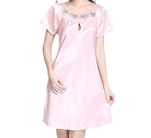 CuteRose Womens Short Sleeve Charmeuse Sleeping Dress Slip Sexy Sleepwear Pink S -