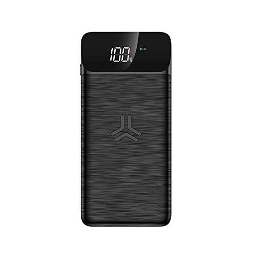 High Wireless Powerbank 10000mAh, Externer Akku Pack, Tragbares Ladegerät mit LCD Digital Display, 4 Ausgabe, 18W Leistung und Dual Input für Alle Qi-fähigen Geräte Speed Smartphone, Black -