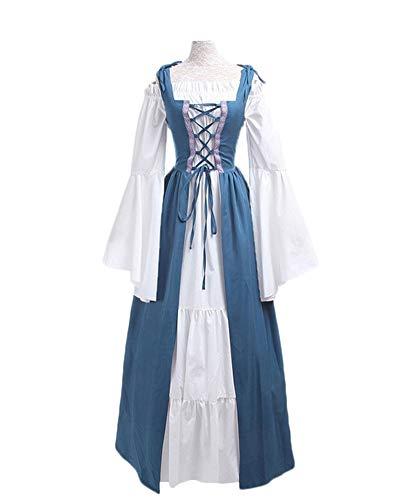 DianShaoA Damen Mittelalter Kleider Viktorianischen Königin Kleid Cosplay Kostüm Langarm Kleid-Gothic Jahrgang Prinzessin Renaissance Bodenlänge Hellblau ()