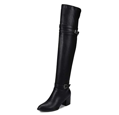 SHANGWU Frauen-Dame-Boot/Kniehohe Stiefel Damen Militär-Block Breite Absatz mittleren Blockabsatz Armee-Kampf-Stiefels Overknee-Stiefel Größe (Farbe : Schwarz, Größe : 43)