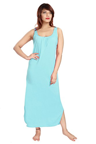 100% Cotton Women's Regular Fit Nighty Gown Slip in Light Blue Color With Broad Strapes & Round Neck Night Inner Wear in Size L by City Girl PLUS  available at amazon for Rs.299