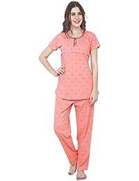 ZEYO Women's Cotton Pink & Peach Feeding Night Suit | Nursing Night Dress with Little Heart Print | Breastfeeding Night wear| Half Sleeve Baby Feeding Top and Pyjama Set
