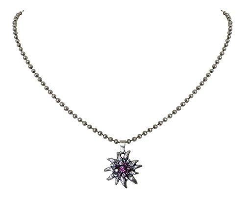 FleißIg Trachtenschmuck Dirndl Kristall Herz Mit Edelweiss Trachtenkette Schwarz Trachtenschmuck