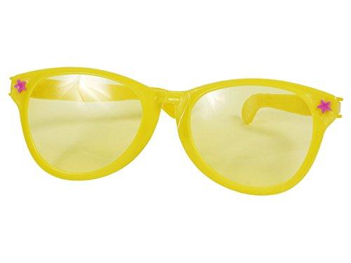 umbo XXL Brille Karneval Hippiebrille Rund Fasching Riesenbrille, wählen:Jumbo Brille gelb 00536 (Jumbo Clown Brille)