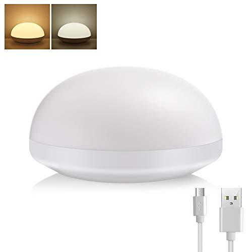 LED Touch Nachtlicht Dimmbar Nachttischlampe mit USB Kinder Schlaflicht, 2 Farbtemperaturen Warmweiß/Kaltweiß Verstellbar Stimmungslicht, Tragbare Nachtlampe zum Stillen Lesen Schlafen und Entspannen