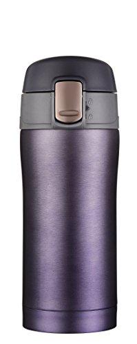 Kooyi Taza de café de viaje 250ml (8.5 Oz), Termo acero inoxidable BPA-free, 100% a prueba de fugas (Azul y púrpura) width=