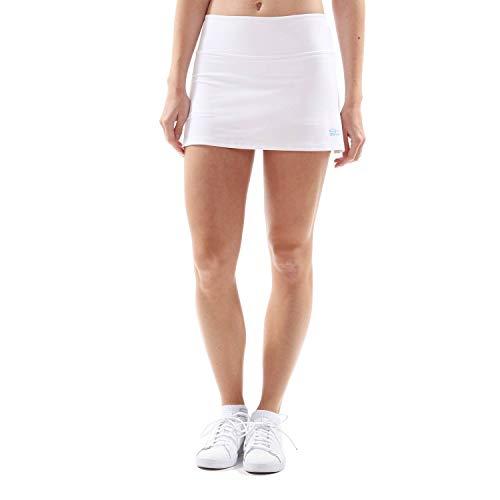 Sportkind Mädchen & Damen Tennis, Hockey, Golf Basic Rock mit Innenhose, Weiss, - Für Kinder Tennisröcke